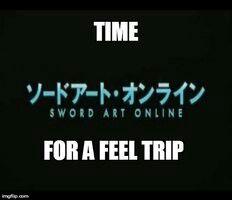 SAO Hahaha want a feels trip watch School Days Online Anime, Online Art, Sword Art Online Meme, Castle In The Sky, School Days, Feelings, Anime Stuff, Funny, English