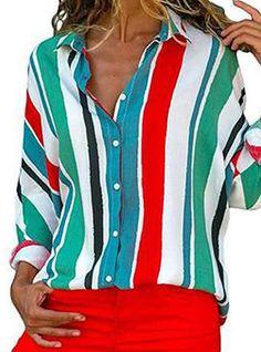 21bcf6af59e2 Women s Basic Loose Shirt - Color Block   Rainbow Shirt Collar Blue L