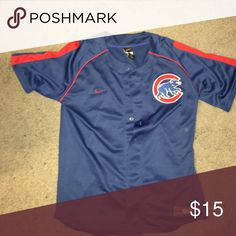 Cubs jersey Fits like a small, show chi town love rep it. Embroidered patch on the breast and plain back. 9/10 Nike Jackets & Coats