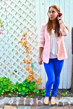 bright blue pants from forever 21,pair the pants with a feminine light pink blazer. I paired my pants with a vintage shirt that is actually for sale in my online store, Tea and Tulips. I also added pink wedges and a flower headband to add a little bit of my own style into it! I didn't want to be a total copycat :)