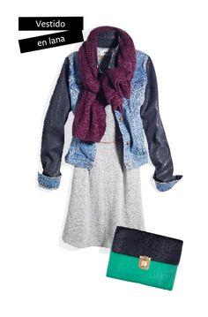 Esta temporada un vestido de lana es una opción increíble y femenina que puedes contrastar con una chamarra para dar un look más rudo.
