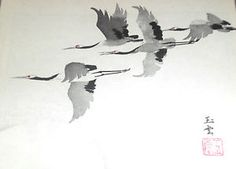 Japanese brush drawing | Japanese-Sumi-e-Brush-Painting-Art-Model-Book-TSURU-Crane-Bird ...