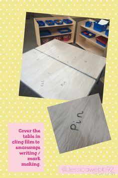 Cover a table in cling film to encourage mark making / writing. Writing Area, Writing Station, Cool Writing, Writing Table, Teaching Phonics, Primary Teaching, Writing Strategies, Writing Skills, Phonics Activities