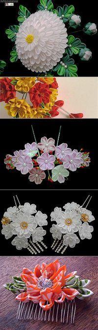 Цветы канзаши, созданные в Японии.