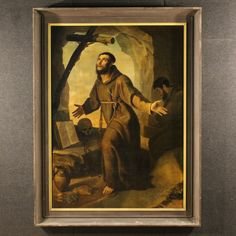 """Price: 6400€  Big Italian painting from the early 19th century. Work oil on canvas, first canvas with the religious subject """"Ecstasy of St. Francis"""". Ancient painting of exceptional measure rich in detail signed lower right """"Paolo Alberto"""". 19th century carved wooden frame. It presents some small color drops, in general in good state of conservation. #antiques #parino Visit our website www.parino.it"""