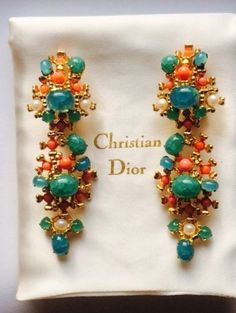 Details about Vintage Christian Dior Earrings Crystal Pave