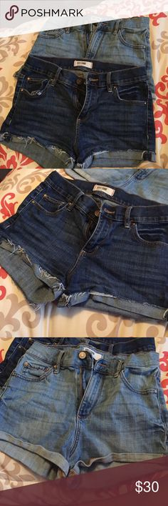 Two pairs of garage high waisted shorts Both size five. Firm fitting and go up to belly button level. I'm a small/medium and they fit me Garage Shorts Jean Shorts