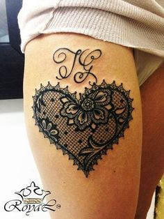 Lace Heart Tattoo - My list of best tattoo models Black Lace Tattoo, Black Heart Tattoos, Foot Tattoos, Body Art Tattoos, Sleeve Tattoos, Lace Tattoo Design, Heart Tattoo Designs, Lace Design, 1 Tattoo