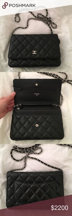 Chanel wallet on chain (WOC) black lambskin 100% authentic Chanel classic quilted wallet on chain with silver hardware in black lambskin. This is a cross body bag but you can also tuck in the chain and use it has a clutch at night. Lightly used with no scratches on lambskin. Serious inquiries only, please message me with any questions. CHANEL Bags Crossbody Bags