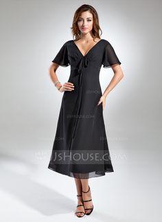 A-Line/Princess V-neck Tea-Length Ruffle Bow(s) Zipper Up Sleeves Short Sleeves Black Summer General Plus Chiffon Mother of the Bride Dress