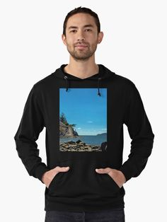 Whytecliff Park. Cliff and rocky beach  in the  Strait of Georgia British Columbia,  coastline, forest and  figure on a cliff • Also buy this artwork on apparel, stickers, phone cases, and more.