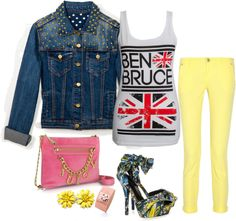 """Blue Denim & yellow"" by bellamonica ❤ liked on Polyvore"