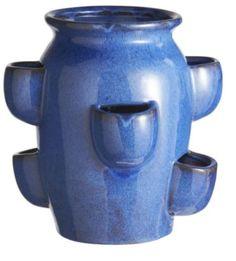 Blue Glazed Strawberry Pot With Pockets, 8033844526148