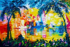 Bright Color City Painting for Sale Oil by EkaterinasArtStudio, $350.00