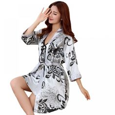 Online shopping for Sleep & Lounge with free worldwide shipping Lace Nightgown, Bridesmaid Robes, Lingerie Dress, Silk Slip, Lace Sleeves, Nightwear, Night Gown, Fashion Outfits, Suit Fashion