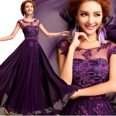 2015 New  Long Chiffon Evening Dress Purple Embroidery Beading Hollow Out Evening Gowns V Back Plus Size Party Dress For Women