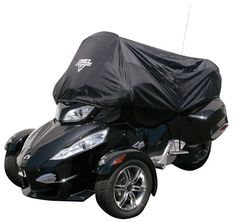 """Nelson-Rigg CAS-375 Black Half Cover for Can-Am Spyder RT  If you are really tight on space on your road trip, and your main goal is to keep your GPS mounts or custom instrumentation under cover, or keep your seat dry from the morning dew for a quick get-a-way in the morning, then this 1/2 cover is ideal. Made from a top quality """"Tri-Max"""" nylon with soft backing, all seams are electronically heat sealed making the cover 100 percent waterproof. Snug elastic hem along the bottom and ha.."""