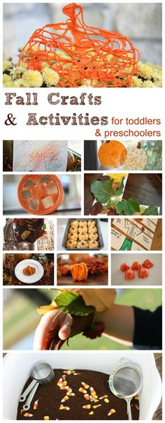 Fall Activities for Toddlers & Preschoolers. A few we have already done that turned out amazing with my 2 year old. A few on here I have yet to do, but ready to test out!! I love holiday crafts!