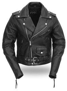 FMC Womens Black Real Leather Motorcycle Jacket Punk Rock Biker Heavy Metal