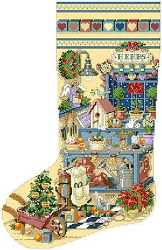 heirloom christmas stocking pattern gardeners delight originally from better homes and gardens cross stitch and country crafts