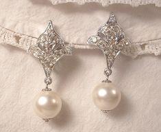 Vintage Art Deco White Ivory Pearl & Crystal Rhinestone Bridal Dangle Earrings, Clip On Back EXQUISITE Fleur-de-lis Drop Earrings 1920s