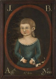 "Colonial American ""Portrait of a Young Boy with Dog"". Rufus Hathaway, 1770-1822, or a Follower. Depicted within an oval spandrel, inscribed ""J.B. Agd. 1 Year"" and dated 1784. Oil on canvas."