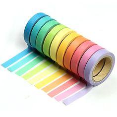 10PCS Popular Rainbow Washi Sticky Paper Masking Adhesive Decorative Tape Scrapbooking DIY for Decorative 10 colors - DKK kr. 30