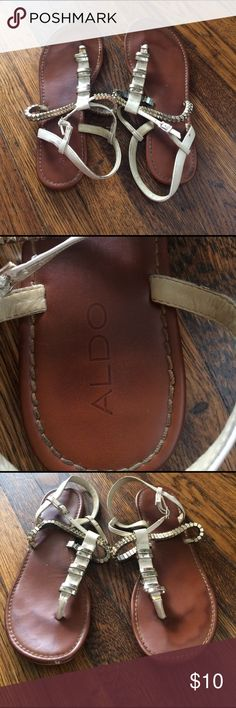 Aldo Sandals Cream & Gold Flat Sandals. Size 9. Runs small why I listed at 8.5 Aldo Shoes Sandals