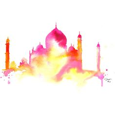 Splash of India, print from original watercolor of Taj Mahl by Jessica... ($25) ❤ liked on Polyvore featuring home, home decor, wall art, backgrounds, other, effects, fillers, art and paper wall art