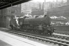 Between duties at Nottingham Victoria station, August 5 1965. She later headed north with a parcels train. Copyright John Evans. No unauthorised copying or downloads. Diesel Locomotive, Steam Locomotive, Transport Images, Old Train Station, Steam Railway, British Rail, Thomas The Tank, Steam Engine, Derbyshire