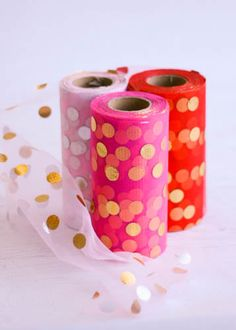 """Gold polka dotted tulle spools in a variety of colors for crafting tutu dresses, tutus for girls, no-sew tutus, or tulle for decorating for weddings and special events. Spools measure 6"""" by 25 yards."""