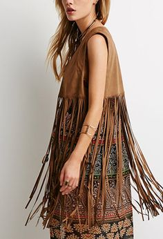 Forever 21 is the authority on fashion & the go-to retailer for the latest trends, styles & the hottest deals. Shop dresses, tops, tees, leggings & more! Boho Outfits, Brown Suede Jacket, Fringe Vest, Brown Skirts, Models, Festival Outfits, Coats For Women, Boho Chic, Latest Trends