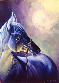 Horse oil painting animalistic art oil on by LenaNavarroArt