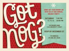 'Got Nog' holiday party invitation in a bold scarlet red design.