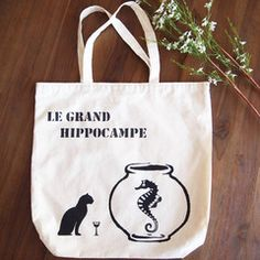 Le Grand Hippocampe (The Big Seahorse) Tote Bag Painted Bags, Hand Painted, Uni Bag, Cotton Tote Bags, Reusable Tote Bags, Gym Gear, Shopping Bag, Big, Shopping Bags