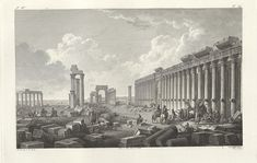 Colonnade Street with Monumental Arch in background Palmyra, Historical Images, Destruction, Art And Architecture, New York Skyline, Survival, City, Travel, Painting