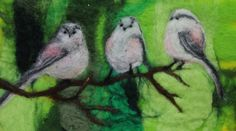 Long Tailed Tits, unique felted picture in glazed box frame by…