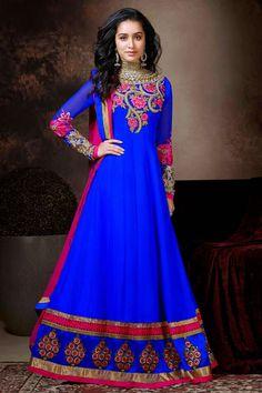 Bollywood DivA Shraddha kappor Long Anarkali Stylish Salwar Kameez