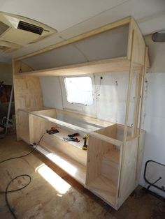 caravan renovation 840062136729472604 - 1977 Airstream Sovereign — Texoma Classics – Classic Vehicle Restorations – 1977 Airstream Sovereign – We have gotten the top cabinets framed out and a wall up. Airstream Living, Airstream Campers, Airstream Remodel, Airstream Renovation, Airstream Interior, Van Interior, Remodeled Campers, Interior Design, Simple Interior