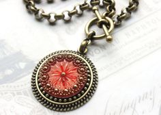 Czech Glass Necklace Poppy Red with gorgeous by veryDonna on Etsy, $78.00