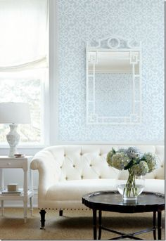 Tufted couch and hydrangeas. My Living Room, Home And Living, Living Room Furniture, Living Room Decor, Living Spaces, White Furniture, Modern Living, Furniture Stencil, Furniture Vintage