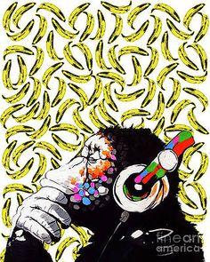DJ Monkey Thinking of a Banana pattern pop art by Costumeart