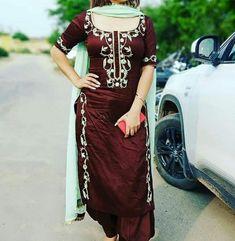 Patiala Suit, Salwar Suits, Designer Punjabi Suits, Hand Embroidery Videos, Embroidery Suits Design, Indian Dresses, Shirt Dress, T Shirt, Long Shirts