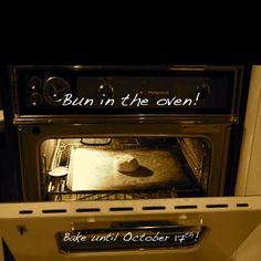 Pregnancy announcement! Bun In The Oven, Announcement, Pregnancy, Kitchen Appliances, Spaces, Diy Kitchen Appliances, Home Appliances, Pregnancy Planning Resources, Fit Pregnancy