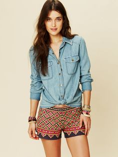 Free People Embroidered Denim Shirt, $128.00