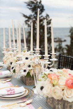 A gorgeous coastal tablescape...Photography by summerstreetphotography.com/ Photography by deborahzoephoto.com/ Planning and Florals by whimevents.com/  Read more - http://www.stylemepretty.com/2013/06/18/new-england-shoot-from-deborah-zoe-photography-summer-street-photography/