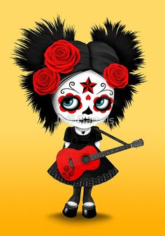 Red Sugar Skull Big Eyed Girl Playing the Guitar | Jeff Bartels