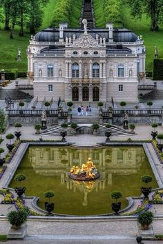 Linderhof Palace (German: Schloss Linderhof) is in Germany, in southwest Bavaria near Ettal Abbey. It is the smallest of the three palaces built by King Ludwig II of Bavaria and the only one which he lived to see completed. One of his un-completed castles Places Around The World, Oh The Places You'll Go, Places To Travel, Places To Visit, Around The Worlds, Beautiful Castles, Beautiful Buildings, Beautiful World, Wonderful Places