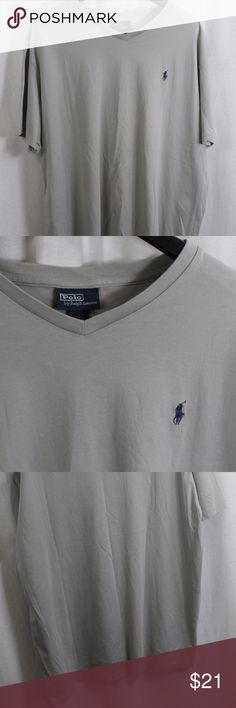 """POLO RALPH LAUREN GRAY V-NECK T-SHIRT XL SIZE:     XL  ARMPIT - TO - ARMPIT:     24""""  LENGTH DOWN BACK:     34""""  STYLE:     V-NECK  MATERIAL:     100% COTTON  CONDITION:        BRAND NEW WITHOUT TAGS. SOURCED DIRECTLY FROM A NATIONAL UPSCALE U.S. RETAILER. QUALITY AND AUTHENTICITY GUARANTEED!  31-77-G Polo by Ralph Lauren Shirts Tees - Short Sleeve"""