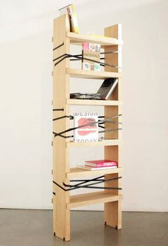 From Belgium-born, Italy-based designer Joeri Reynaert comes the Tuberack shelf / space divider. Tuberack is easy to assemble and made of solid oak. The clever piece uses no screws or glue for assembly but instead is held together with rubber tubes that can also hold your books and magazines.